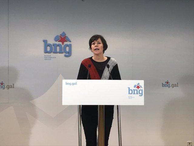 La líder del BNG, Ana Pontón, en la rueda de prensa