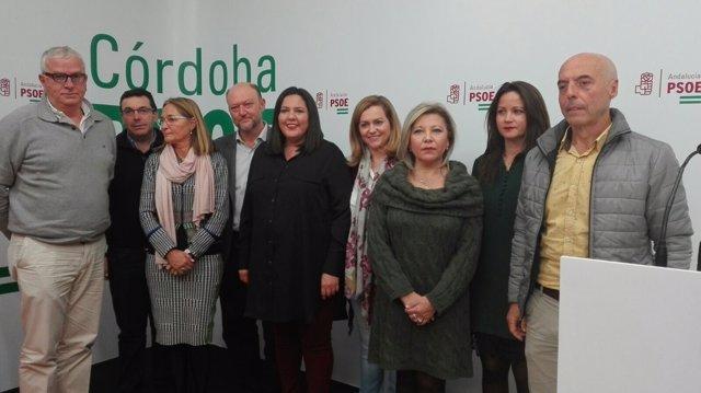 Los dirigentes y cargos públicos del PSOE-A con los alcaldes del Cabril