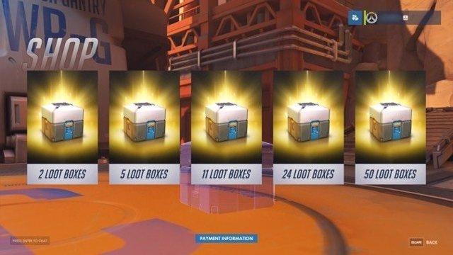 Cajas de botín loot boxes star wars battlefront II overwatch Bélgica
