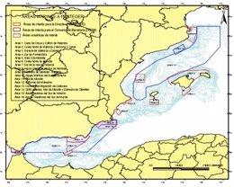 Mapa del corredor migratorio de cetáceos en el Mediterráneo