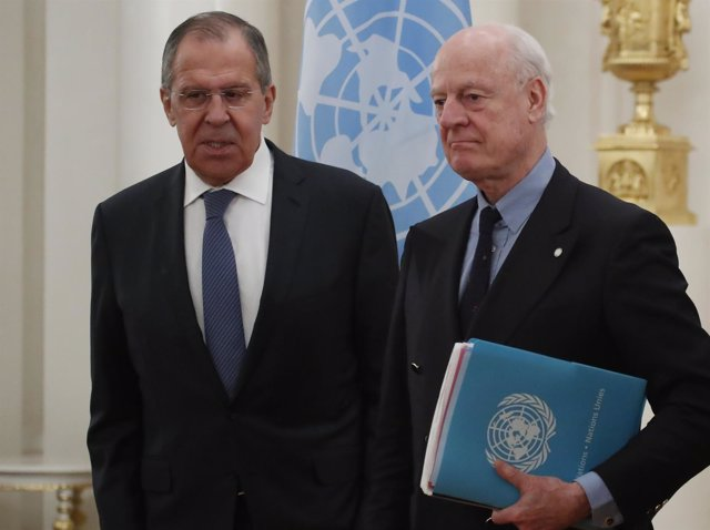 Sergei Lavrov y Staffan de Mistura