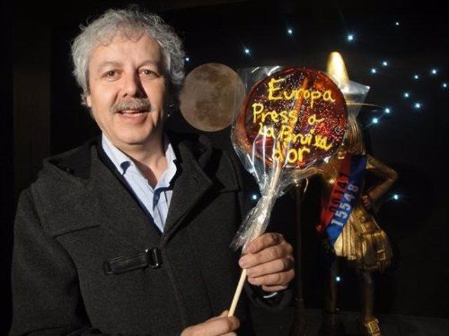 Xavier Gabriel celebrando los premios de Navidad de 2010 en La Bruixa d'Or