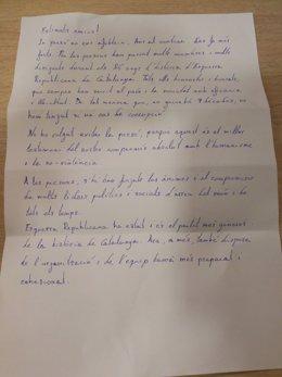 Carta de Oriol Junqueras desde la prisión de Estremera