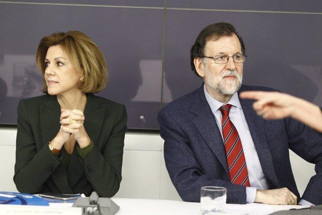 Rajoy y Cospedal en el Comité Nacional Ejecutivo del PP en la sede del partido