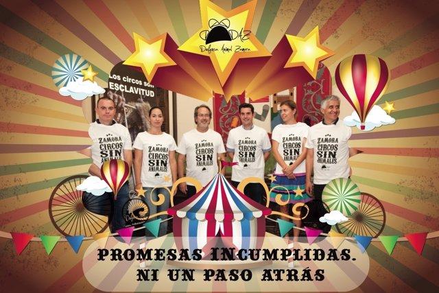 Cartel contra el circo autorizado en Zamora