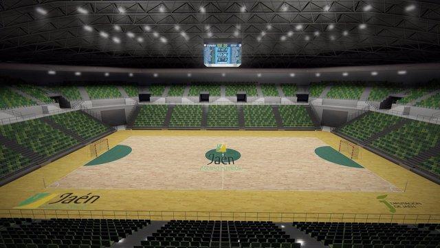 Recreación del futuro palacio de deportes Olivo Arena de Jaén.