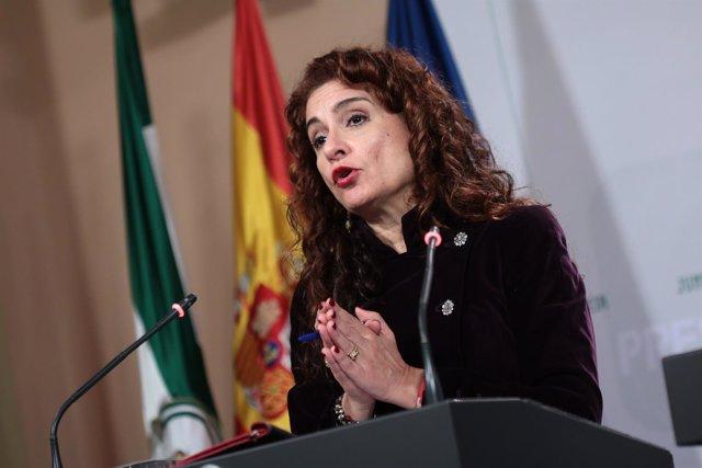 María Jesús Montero, en rueda de prensa posterior al Consejo de Gobierno.