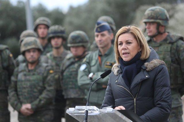 La ministra de Defensa, Maria Dolores de Cospedal, en Tarragona.