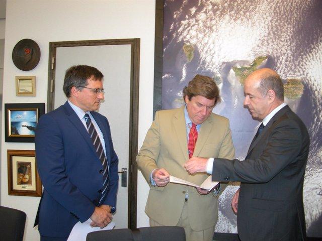 Adrián Mendoza junto a Gabriel Mato y Pedro Ortega (foto de archivo)