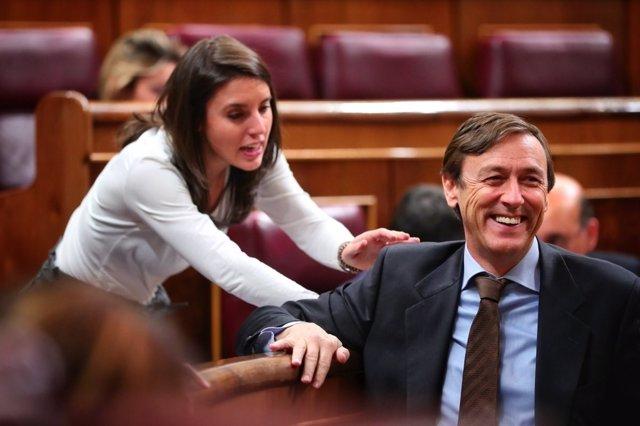 Rafael Hernando, del PP, e Irene Montero, de Unidos Podemos