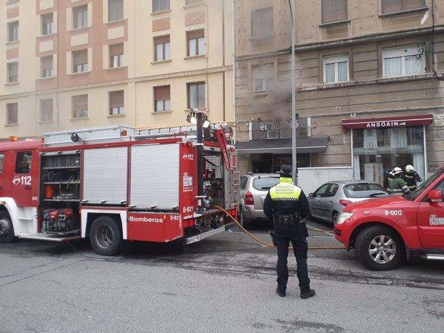 Incendio en un ediificio en el centro de Pamplona.
