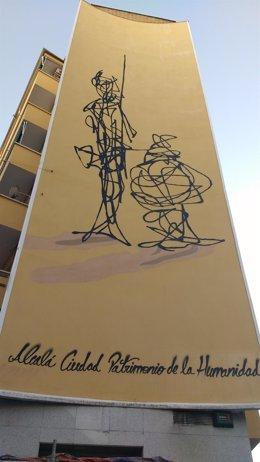 Imagen de la intervención artística sobre El Quijote