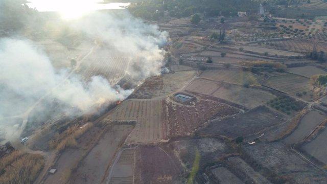 Imagen aérea del lugar del incendio