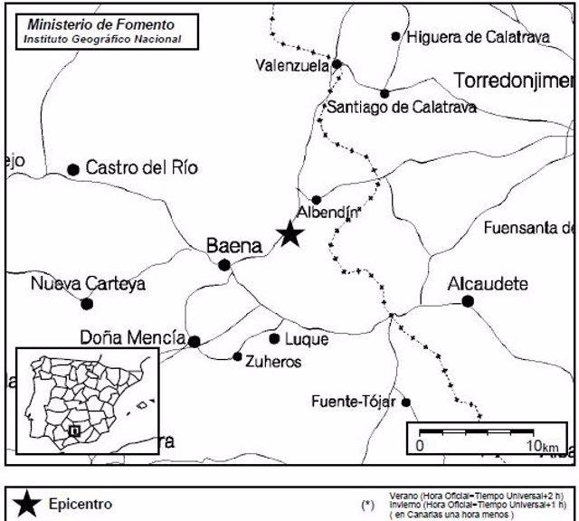 Mapa de localización del epicentro del terremoto de Baena