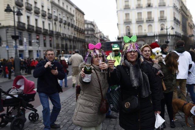 Celebración de las preuvas en la Puerta del Sol de Madrid