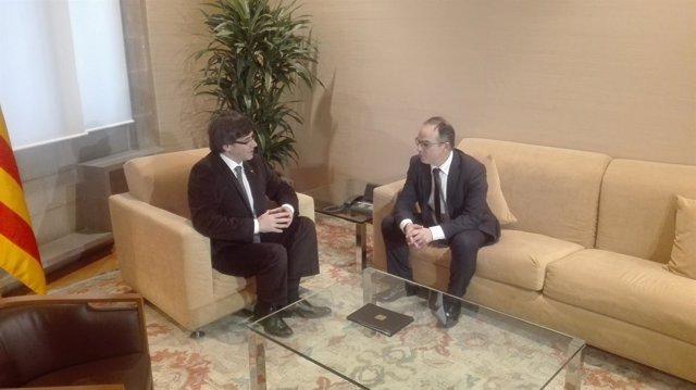 Jordi Turull (JxSí) reunido con el president Carles Puigdemont