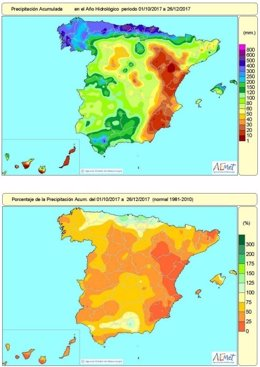 Distribución de lluvias en España en el primer trimestre de año hidrológico