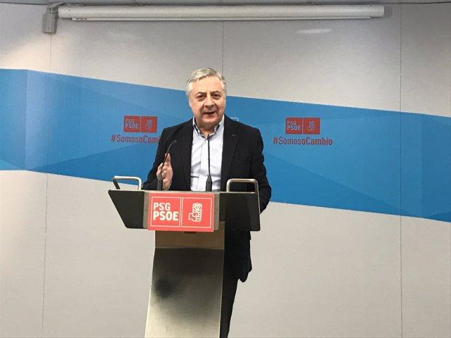 El eurodiputado del PSOE José Blanco en una rueda de prensa