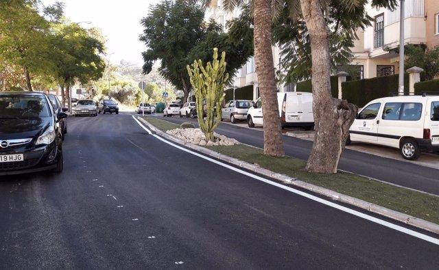 Calle reasfaltada asfalto grava málaga ciudad jardín distrito mejoras ciudad