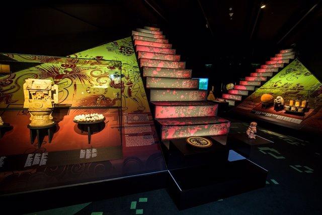 Sala de las pirámides, de la muestras sobre los mayas