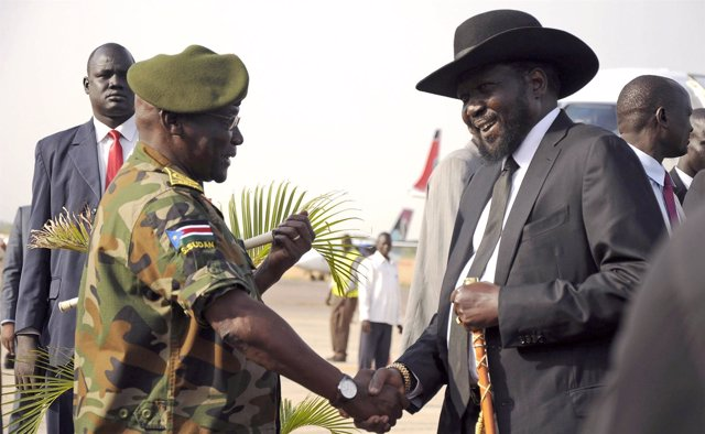 Salva Kiir y el general Paul Malong