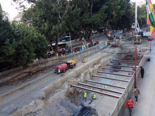 Obras Metro de Málaga alameda principal tramo atarazanas 28-12-17 junta obras