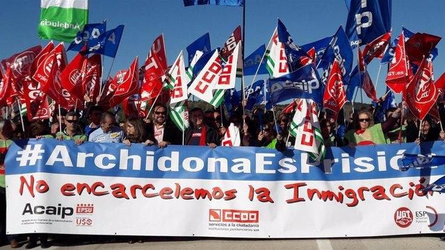 Archidona protestas de sindicatos ccoo ugt acaip carcel funcionarios prisiones