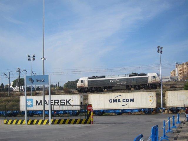 Un tren de mercancías en la TMZ