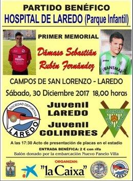 Cartel partido benéfico Dámaso y Rubén en Laredo