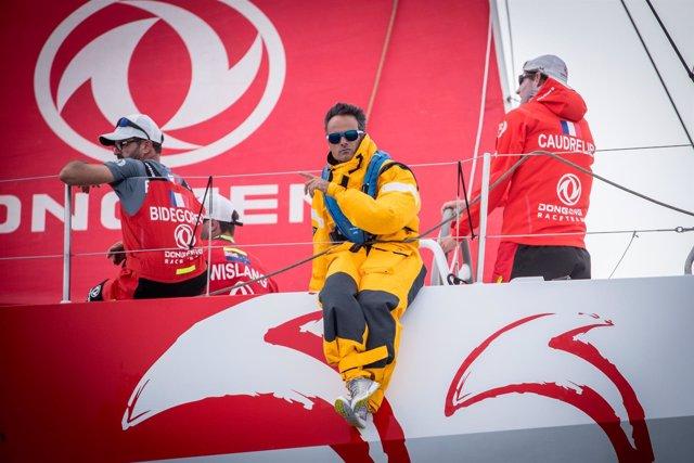 Franck Cammas a bordo del Dongfeng