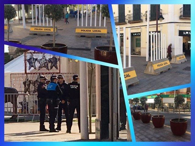 Vallas y maceteros en Melilla