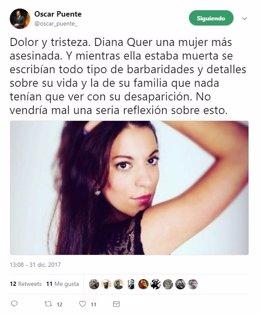 Valladolid.- Tuit de Óscar Puente sobre Diana Quer