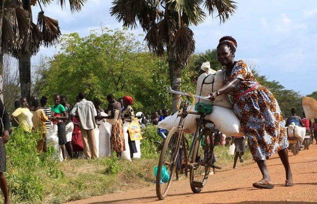Refugiada sursudanesa en Uganda