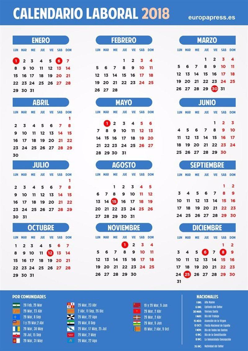 Calendario Laboral 2018 Semana Santa Puentes Y D 237 As Festivos