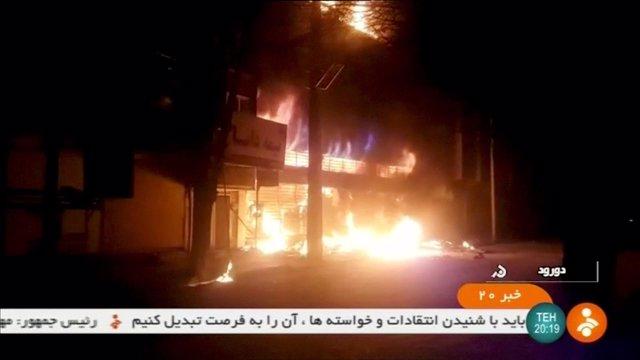 Disturbios durante las protestas ocurridas en Irán en diciembre de 2017