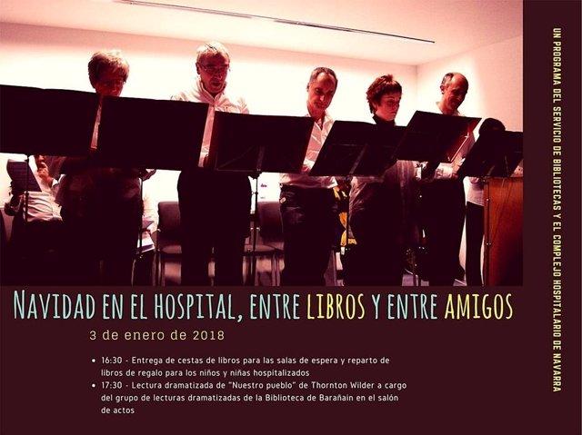 """Cartel de las actividades """"Navidad en el Hospital, entre libros y entre amigos""""."""