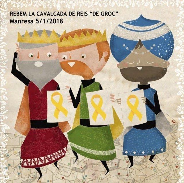 Creatividad de la ANC y Òmnium para recibir a los reyes magos de amarillo.
