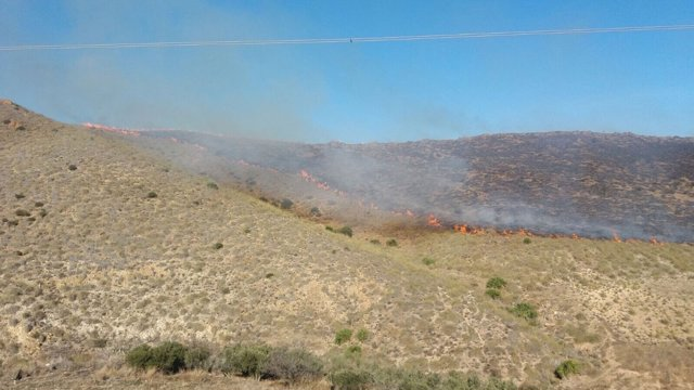 Frente de llamas en el paraje Los Llanos de San Antonio, en Carboneras