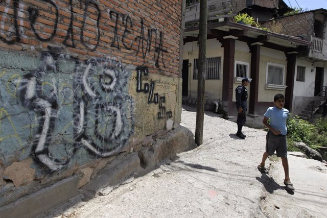 Grafitti de la mara 18 en Tegucigalpa