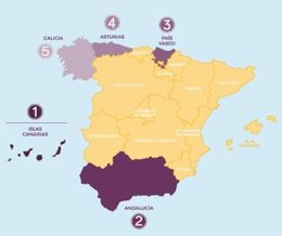Mapa españa comunidades mas demandas para turistas españoles en 2018