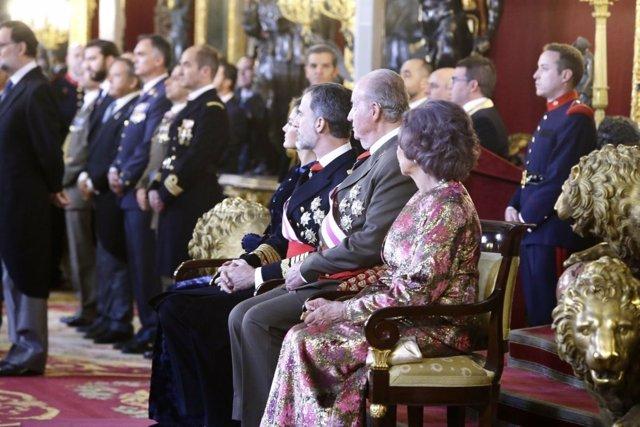 Los reyes y los reyes eméritos en la celebración de la Pascua Militar de 2018