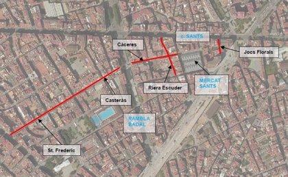 Barcelona finaliza la conversión a plataforma única de cinco calles del distrito Sants-Montjuïc