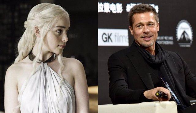 Emilia Clarke (Daenerys) y Brad Pitt