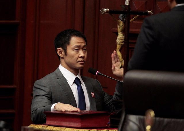 Congressman Kenji Fujimori attends a special session to take oaths of office, in