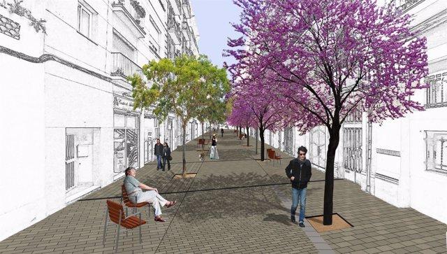 Reurbanización futura calle Concòrdia Barcelona