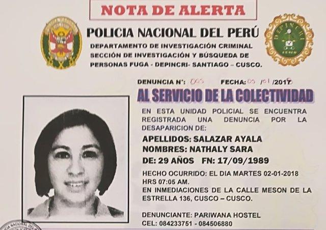 Joven valenciana desaparecida en Perú