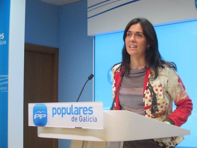 Paula Prado (PPdeG) en rueda de prensa en la sede
