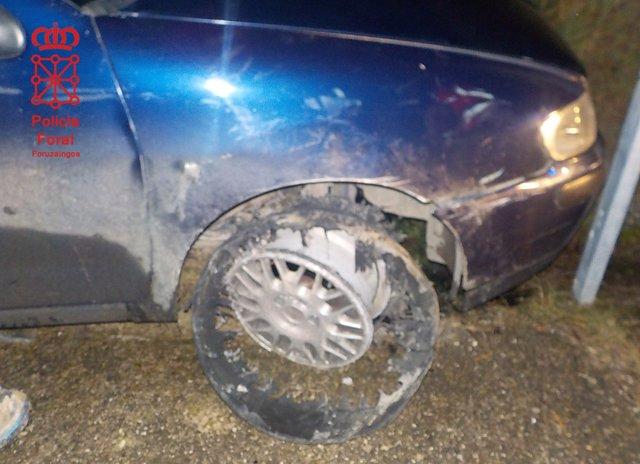 Imagen del vehículo accidentado en Ezcabarte.