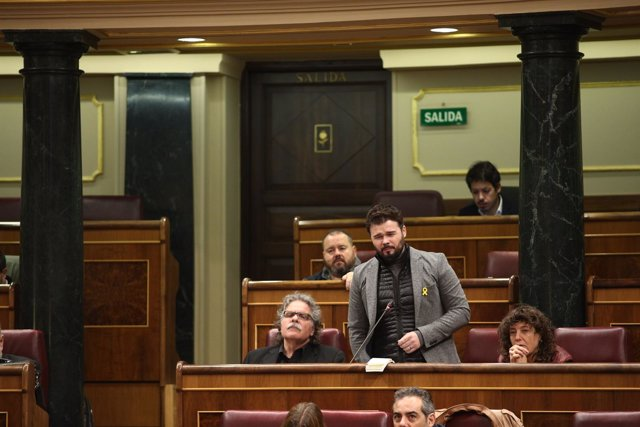 Gabriel Rufián en la sesión de control al Gobierno en el Congreso
