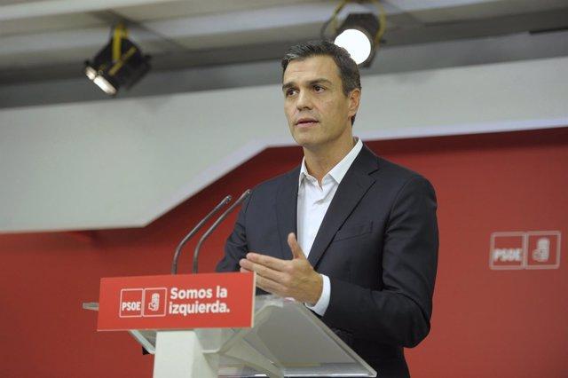 Pedro Sánchez comparece en Ferraz el 1 de octubre